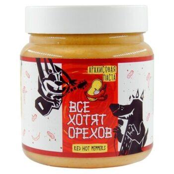 """Арахисовая паста """"Все хотят орехов"""" Red hot peppers 600 гр."""