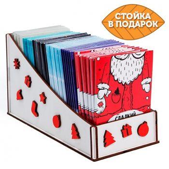 Набор Новогодний box + 40 открыток с шоколадом